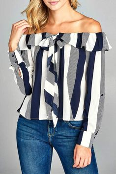 Casual Summer Outfit - Minx Striped Shoulder Blouse