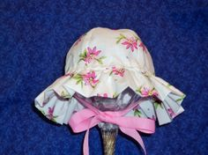 White Baby Sunhat with Pink Flowers by AdorableandCute on Etsy, $23.00