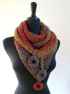 Grand Canyon Sunset Mustard Khaki Rust Taupe Color Cowl Kerchief Fichu Mini Shawl Collar Dickey Scarf with Crocheted Rings