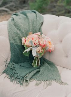 A Peach Bouquet and Patina Throw for an End of Summer Garden Wedding | Elizabeth Messina Photography | See More! http://heyweddinglady.com/peach-and-patina-end-of-summer-garden-wedding/