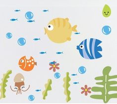 Wall Stickers for Kids Stick Wall Decals Wall Decals Decoration Wall Sticker Decal - Fish and Octopus by bigbvg, http://www.amazon.com/dp/B0088I8PL2/ref=cm_sw_r_pi_dp_nlg0pb1WEQQHK