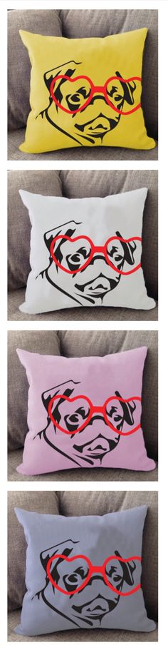 Hipster Pug pillow. Cover is machine washable and Made in USA.
