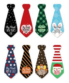 Another great find on #zulily! Baby's First Holidays Milestone Tie Stickers - Set of Eight #zulilyfinds