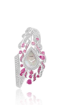 WATCH IN 18K WHITE GOLD, PINK SAPPHIRES AND DIAMONDS