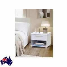 Bedside Side Table Drawer Night Nightstand White Bedroom Furniture Home Decor