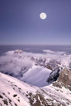 Switzerland Saentis Full Moon