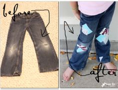 so smart - - make those knee holes go away!  How to Patch Girl's Jeans - super cute! (with tutorial)