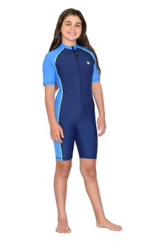 10c5e9eb7b Girls Full Body UV Sun Protection Swimsuit Sunsuit UPF50+ Navy Blue Sizes  4-14 #SunProtectionSwimsuits #OnePiece