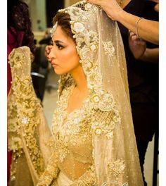 Brides #inspiration #ffashionaire #elan #couture #lengha #gown #bridal #bridalmakeup #ivory #cream #gold #cutwork #embroidery #saree #india #london #designer
