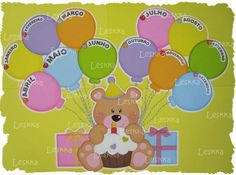 Cartel cumpleaños osito de Leskka Birthday Bulletin Boards, Birthday Board, Classroom Labels, Classroom Decor, Class Decoration, Diy Arts And Crafts, Happy Kids, Kids Decor, Sunday School