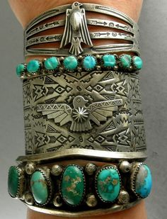 Aztec/Phoenix-themed cuff with turquoise accents