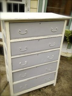 SheShe, The Home Magician: Painted chest of drawers in Paris Grey and Old White Annie Sloan Chalk Paint.