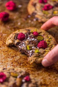 Raspberry Pistachio Chocolate Chunk Cookies