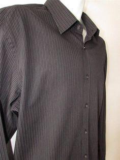 Men Hugo Boss Casual Shirt Slim Fit Black Pinstripe 100% Cotton sz XXL EUC