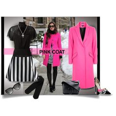 Pretty Pink Coat - Topshop by affton on Polyvore featuring moda, RED Valentino, Topshop, Chicwish, Monki, Jimmy Choo, 3.1 Phillip Lim, Forzieri, Gucci and neon