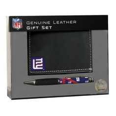 NFL New York Giants BiFold Wallet with Pen Gift Set by Team Sports America. $27.95. These leather goods are made of high quality, fine grain leather. 100% Leather. Our exclusive leather bi-fold wallets come with a full color comfort grip pen featuring your favorite team's logo. Premier packaging make this set a wonderful gift item. New York Giants BiFold Wallet w/ Pen Gift Set. NFL New York Giants BiFold Wallet with Pen Gift Set