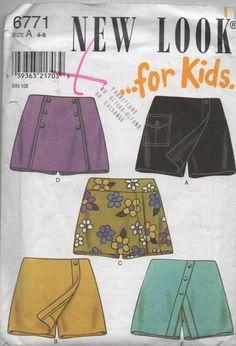 Kids Skort Sewing Pattern New Look Skort Pattern by creekyattic, $5.00
