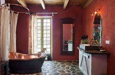 Copper bath :) & neat look for sink area