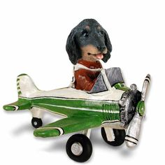 Dachshund Longhaired Black  Airplane Doogie Collectable Figurine