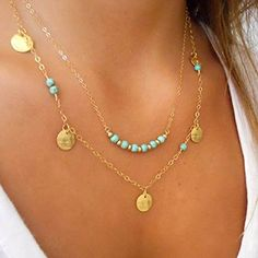 Shensee Female New Vogue DIY Gold Double Turquoise Sequins Pendant Chain Statement Necklace - http://www.spiritualgemstonejewelry.com/shensee-female-new-vogue-diy-gold-double-turquoise-sequins-pendant-chain-statement-necklace/