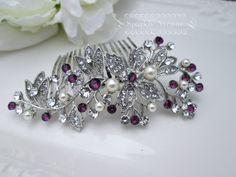 Bridal Hair Comb Purple Hair Comb Flower Hair Piece Amethyst Swarovski Crystal Bridal Hair Piece Wedding Hair Accessory Leaf Bridal Clip Mia