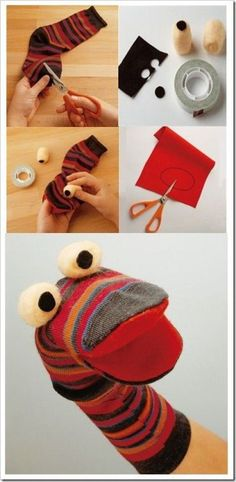 27 DIY Sock Toys: How to Make Sock Animal Puppets for kids - Diy Craft Ideas & Gardening Diy Sock Toys, Sock Crafts, Sock Puppets, Hand Puppets, Hobbies And Crafts, Diy Crafts For Kids, Kids Diy, Craft Ideas, How To Make Socks