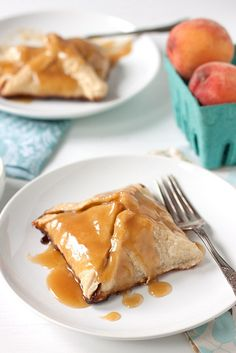 A buttery and flaky pastry filled with caramelized peaches and topped with vanilla cream sauce.