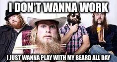 I don't wanna work. I just wanna play with my beard all day.