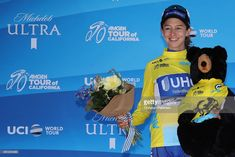 #AmgenTOC SACRAMENTO, CA - MAY 19:  Overall winner Katie Hall of the United States riding for UnitedHealthCare Pro Cycling Team in the yellow Amgen Leaders jersey poses following stage three of the Amgen Tour of California Women's Race Empowered with SRAM, a 70km stage in Sacramento on May 19, 2018 in Sacramento, California.  (Photo by Christian Petersen/Getty Images for AEG)
