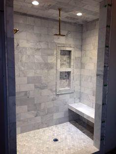 New Bath Room Master Shower Tile Ideas Small Bathroom Tiles, Master Bathroom Shower, Bathroom Flooring, Small Bathrooms, Bathroom Showers, Gold Bathroom, Brown Bathroom, Bath Ideas, Shower Ideas Bathroom