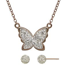 jcpenney.com | Crystal-Accent Gold Over Silver Butterfly Necklace and Earring Set