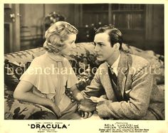 Lobby card for 'Dracula' (Universal, Helen played Mina Seward and is seen here with David Manners. My collection. Helen Chandler, Classic Monsters, Dracula, Couple Photos, Couples, Cards, Manners, David, Collection