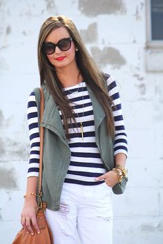 Like her haircolor and the nautical and green.
