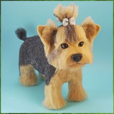 Toy animals, handmade.  Arts and crafts fair.  Buy Yorkshire Terrier (felted toy felted dog, dog photo).  Dry felting, Yorkshire Terrier, York.  Handmade.