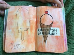 My wreck this journal- colour outside the lines page