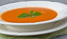 Chilled Creamy Tomato Basil Soup - Once Upon a Chef Tomato Bisque Soup, Creamy Tomato Basil Soup, Soup Recipes, Cooking Recipes, Basil Recipes, Lunch Recipes, Keto Recipes, Red Pepper Soup, Pureed Soup