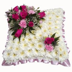 Funeral Flowers Pink & White Funeral Cushion From £30.00
