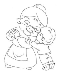 Grandma Coloring Pages Summer Coloring Sheets, Baby Coloring Pages, Printable Coloring Pages, Coloring Books, Pictures To Paint, Cute Pictures, Cartoon Familie, Eid Cards, Doodle Designs