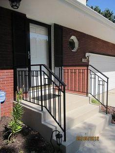 O'Brien Ornamental Iron - Gallery of Exterior Step Rails (Patio Step Handrail) Porch Step Railing, Exterior Stair Railing, Outdoor Stair Railing, Deck Railing Design, Deck Railings, Iron Railings, Porch Handrails, Railing Ideas, Cafe Exterior