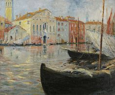 """Venetian Canal,"" Caleb Arnold Slade, ca. 1910, oil on canvas, 20 X 24"", Childs Gallery."