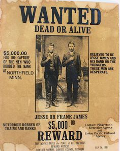 Check out the deal on Frank or Jesse James Wanted Dead or Alive Poster at Circle KB Western Cowboy Holsters Vintage Ads, Vintage Posters, Retro Posters, Jessy James, Old West Outlaws, Famous Outlaws, Frank James, Old West Photos, Into The West