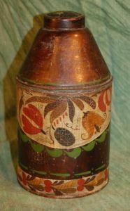 Early American Tole Painted Tin Tea Caddy Canister Penn Dutch