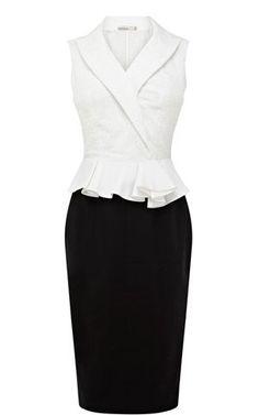 Karen Millen Geometric Broderie Dress in Black (black & white)