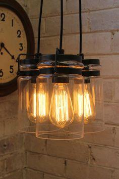 Glass Lights Pendant. Single or triple drop. Industrial chic - Fat Shack Vintage - Fat Shack Vintage