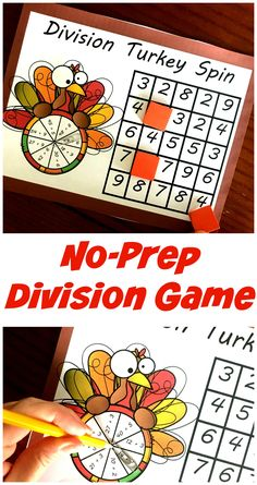 This no-prep FREE and fun division game gets children practicing their division facts. Simply spin, solve, and then cover up the answer. Math Board Games, Math Games, Math Math, Kindergarten Math, Math For Kids, Games For Kids, Hands On Activities, Math Activities, Division Games