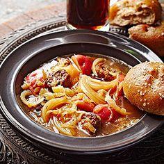 Sauerkraut and brat soup