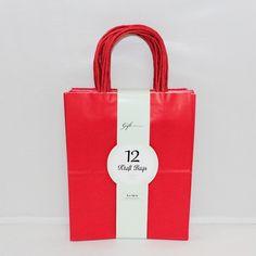 Medium Kraft Bags: Primary Red 12ct