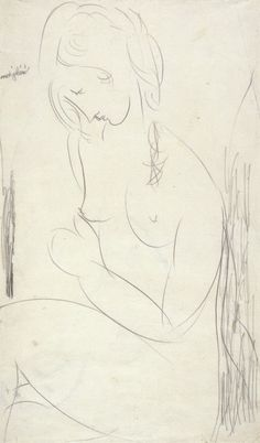amare-habeo: Amedeo Modigliani (Italian, 1884 - 1920) Nu assis, 1917