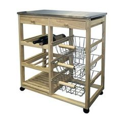 I need something like this for all my fruit/veggie storage in the kitchen. ORE Furniture Wood Kitchen Cart