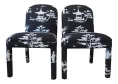 Chinoiserie Style Parson Chairs - Pair on Chairish.com